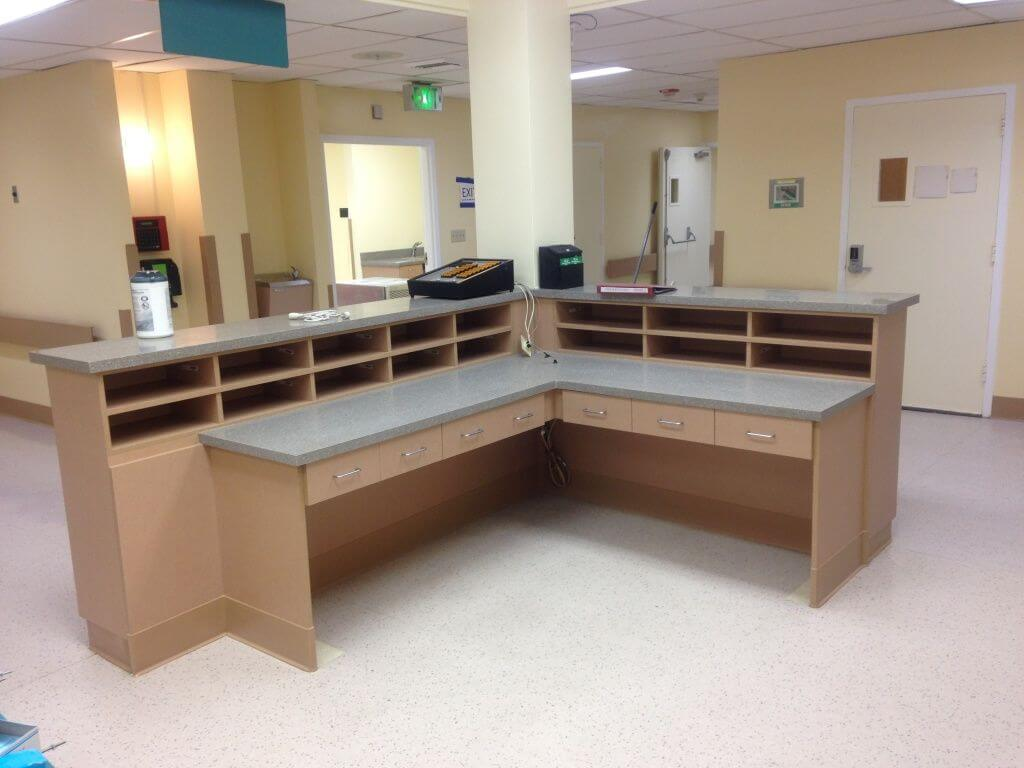 custom hospital desk by I&E cabinets