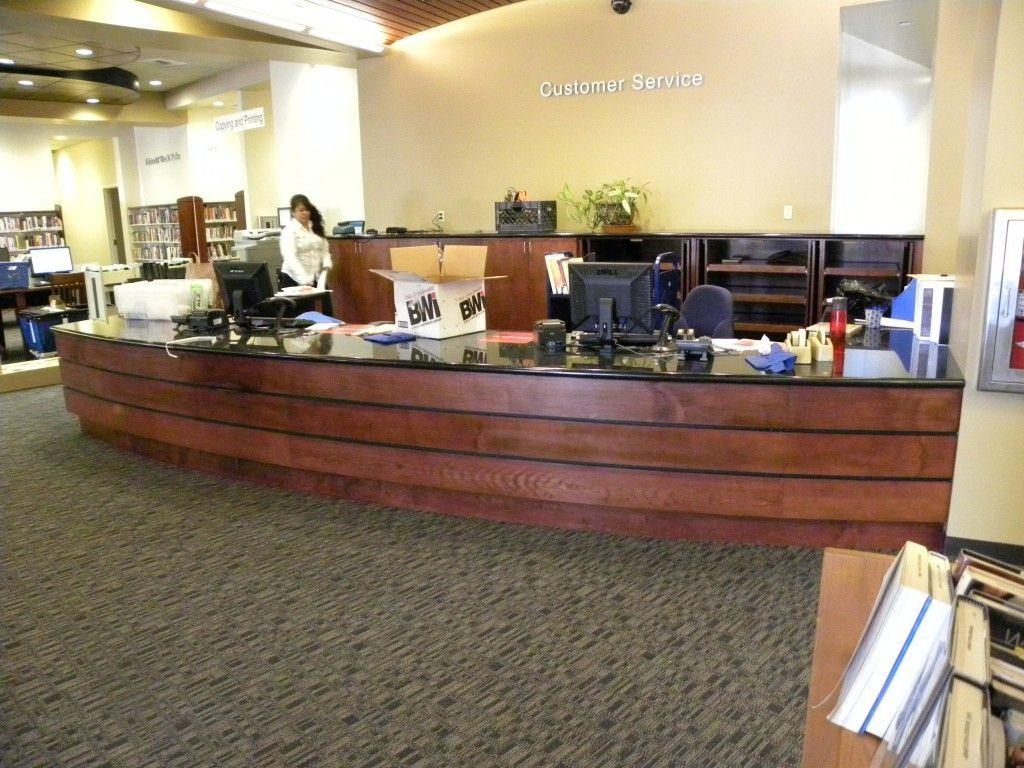 custom cabinets front receptionist desk