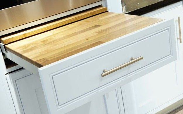 pull out work surface near key appliances