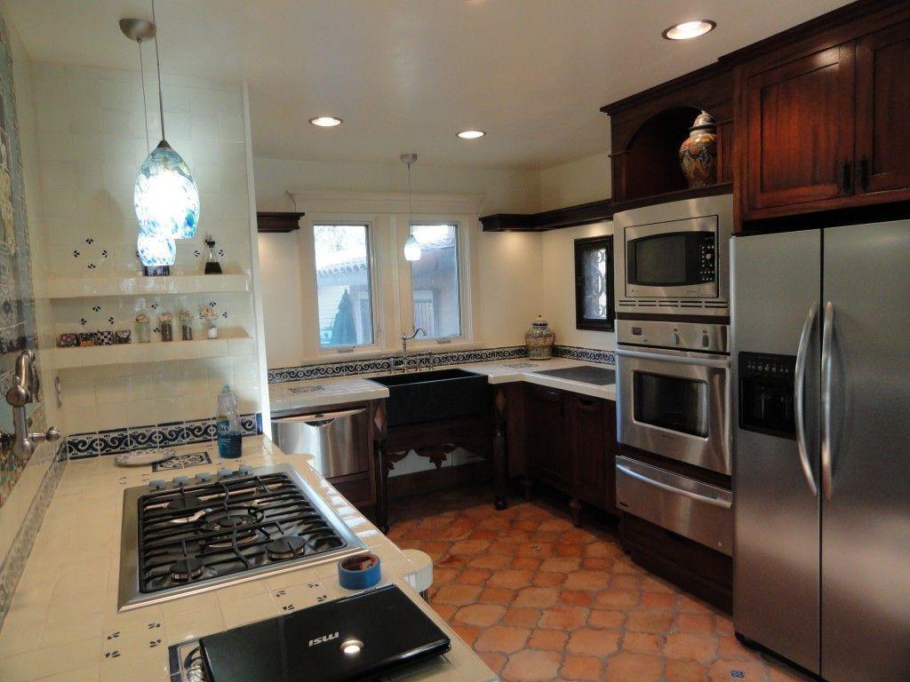 small kitchen design with dark wood