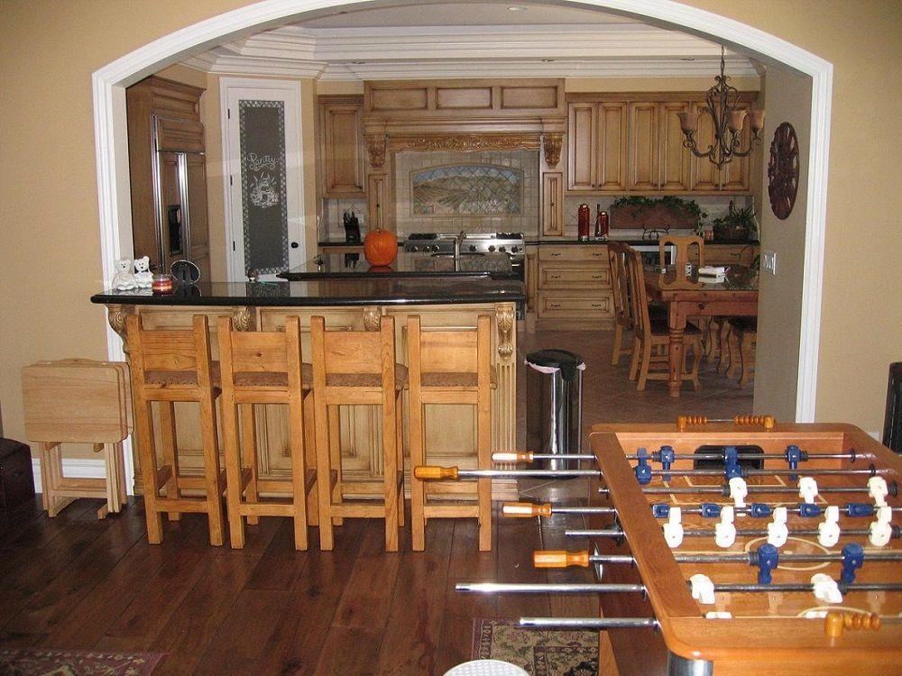 ornate light wood kitchen