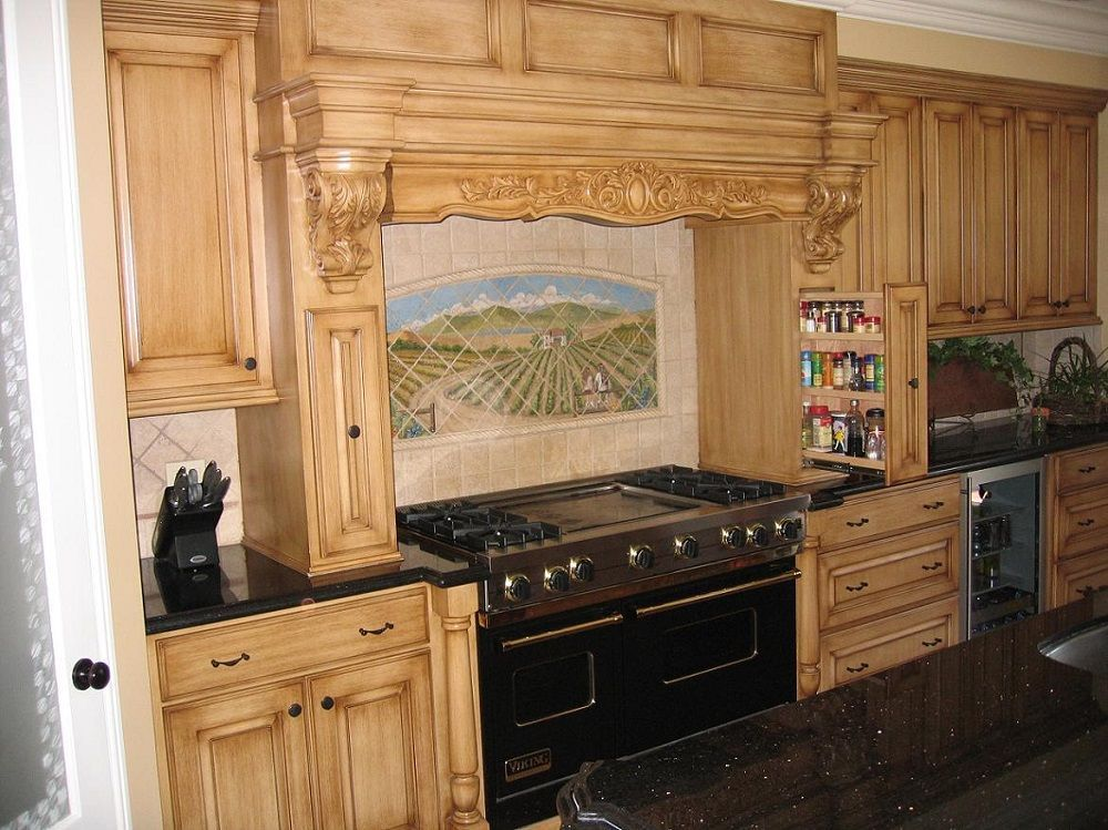 custom cabinets and ornate woodwork