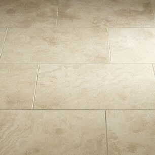 ivory travertine cross cut tile floor