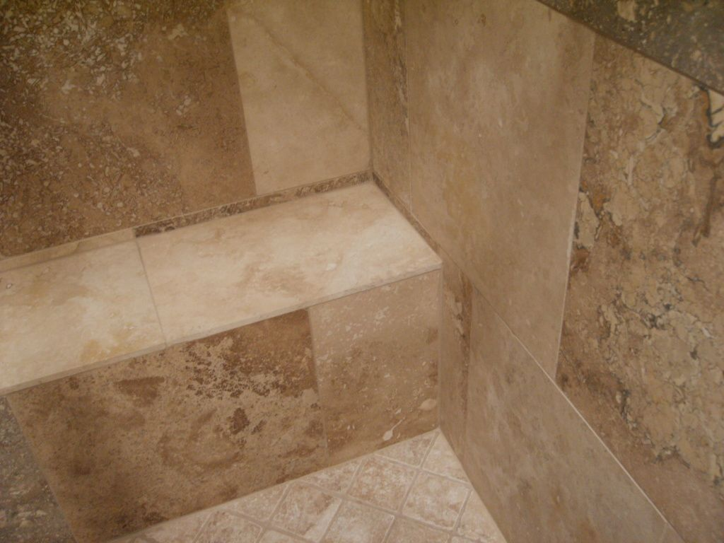 walnut travertine tile shower