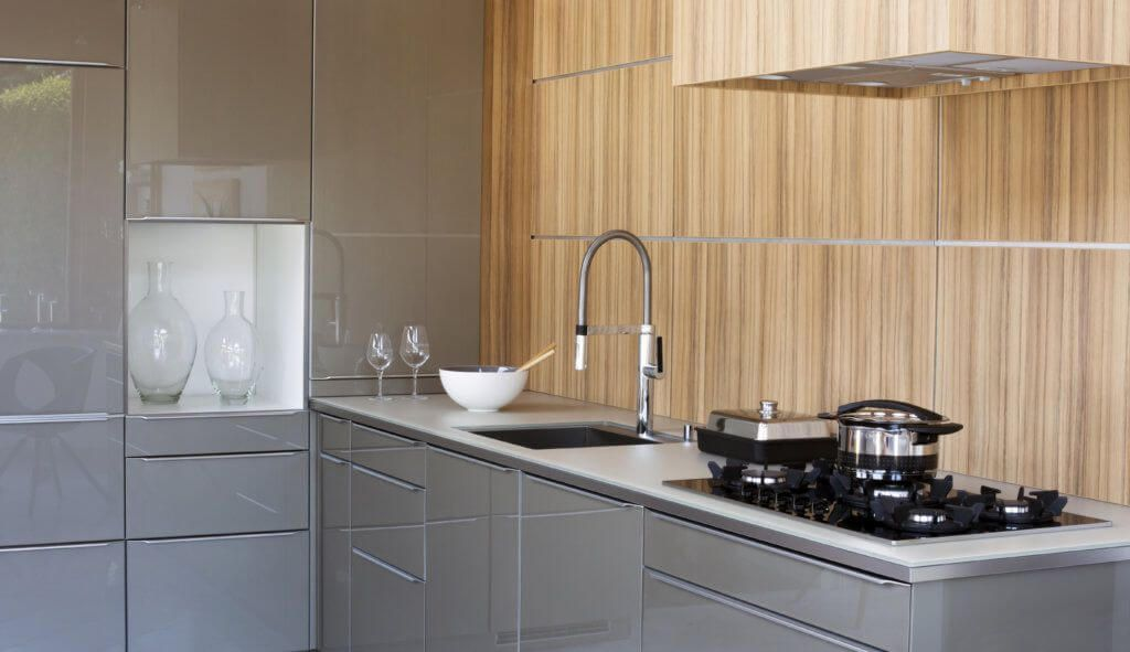 Grey kitchen cabinets are hot i e cabinets for Shiny white kitchen cabinets